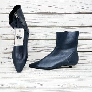 ZARA Flat Leather Ankle Boots with Toe Cap Detail